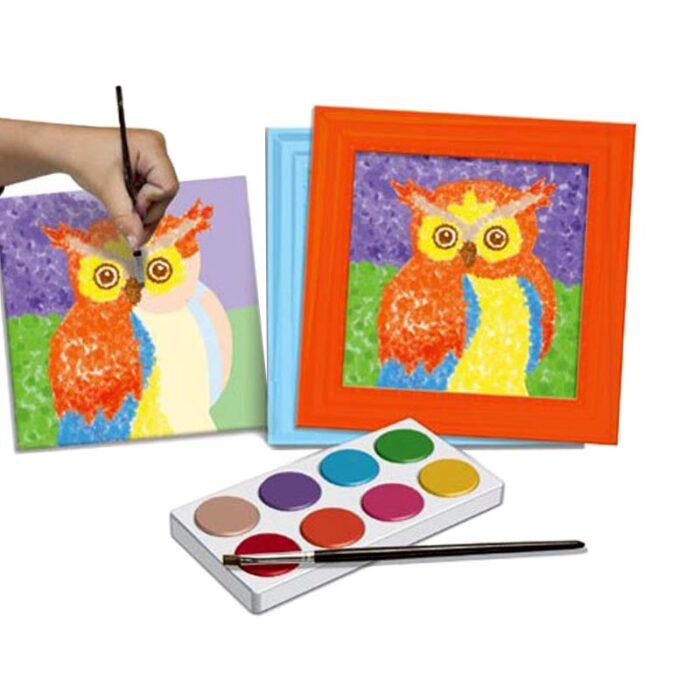 Творчески комплект за рисуване Поантилизъм - Животни бухал