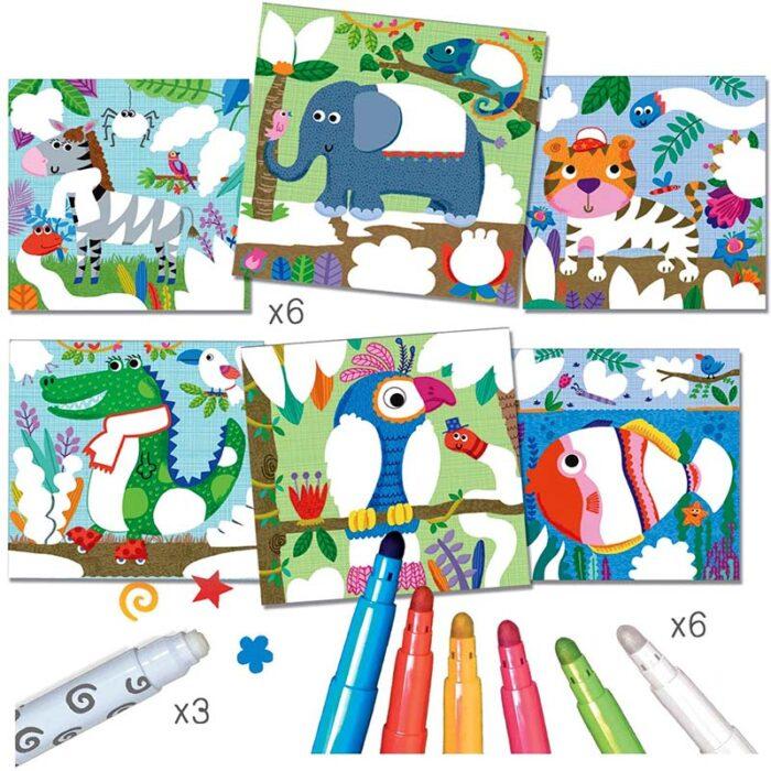 Комплект за оцветяване с магически маркери - Животни картинки