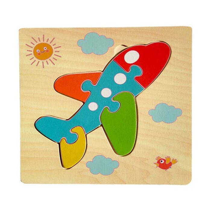 Дървен пъзел за деца - Самолет