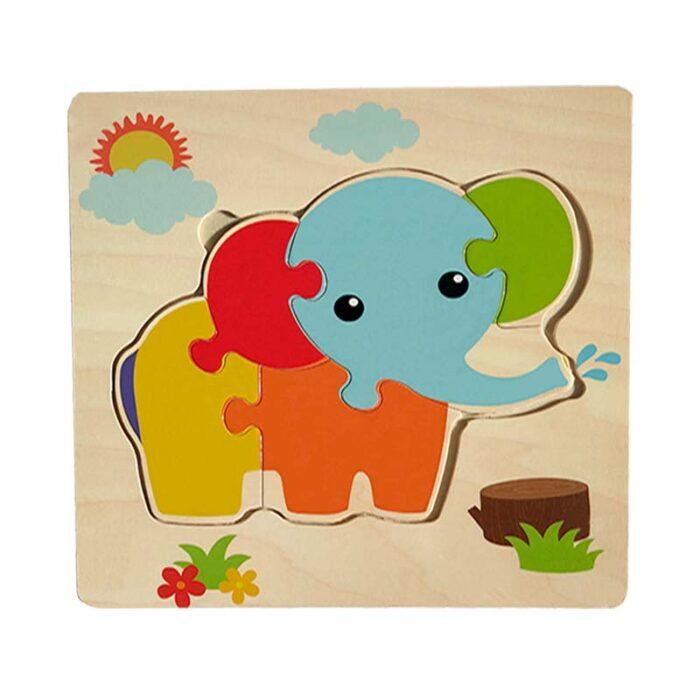 Дървен пъзел за деца - Слонче